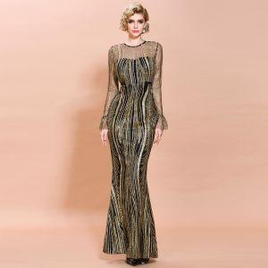 Piękne Czarne Złote Przezroczyste Sukienki Wieczorowe 2020 Syrena / Rozkloszowane Wycięciem Długie Rękawy Rękawy z dzwoneczkami Aplikacje Cekiny Długie Sukienki Wizytowe