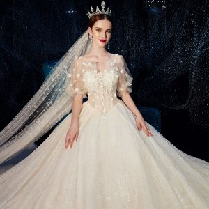 Romantic Champagne Wedding Dresses 2019 Ball Gown V-Neck Puffy Short Sleeve Backless Flower Pearl Glitter Appliques Lace Beading Cathedral Train Ruffle