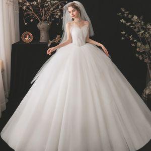 Haut de Gamme Ivoire La Mariée Robe De Mariée 2021 Robe Boule Amoureux Sans Manches Dos Nu Perlage Perle Longue Volants