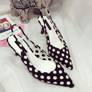 Chic / Beautiful Summer Black Casual Womens Shoes 2018 Spotted Slingbacks 6 cm Stiletto Heels Pointed Toe High Heels