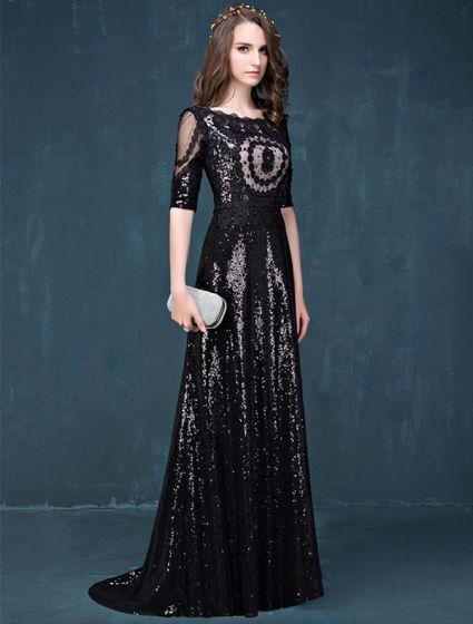 Empire Square Neckline Lace Flowers Black Sequins Evening Dress