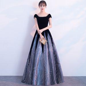 Chic / Belle Noire Longue Robe De Soirée 2018 Princesse Fermeture éclair U-Cou Tulle Dos Nu Perlage Paillettes Robe De Ceremonie
