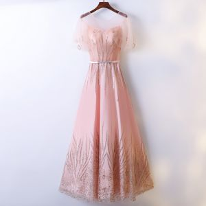 Chic / Beautiful Pearl Pink Prom Dresses 2017 A-Line / Princess Lace Sequins Scoop Neck Backless Short Sleeve Ankle Length