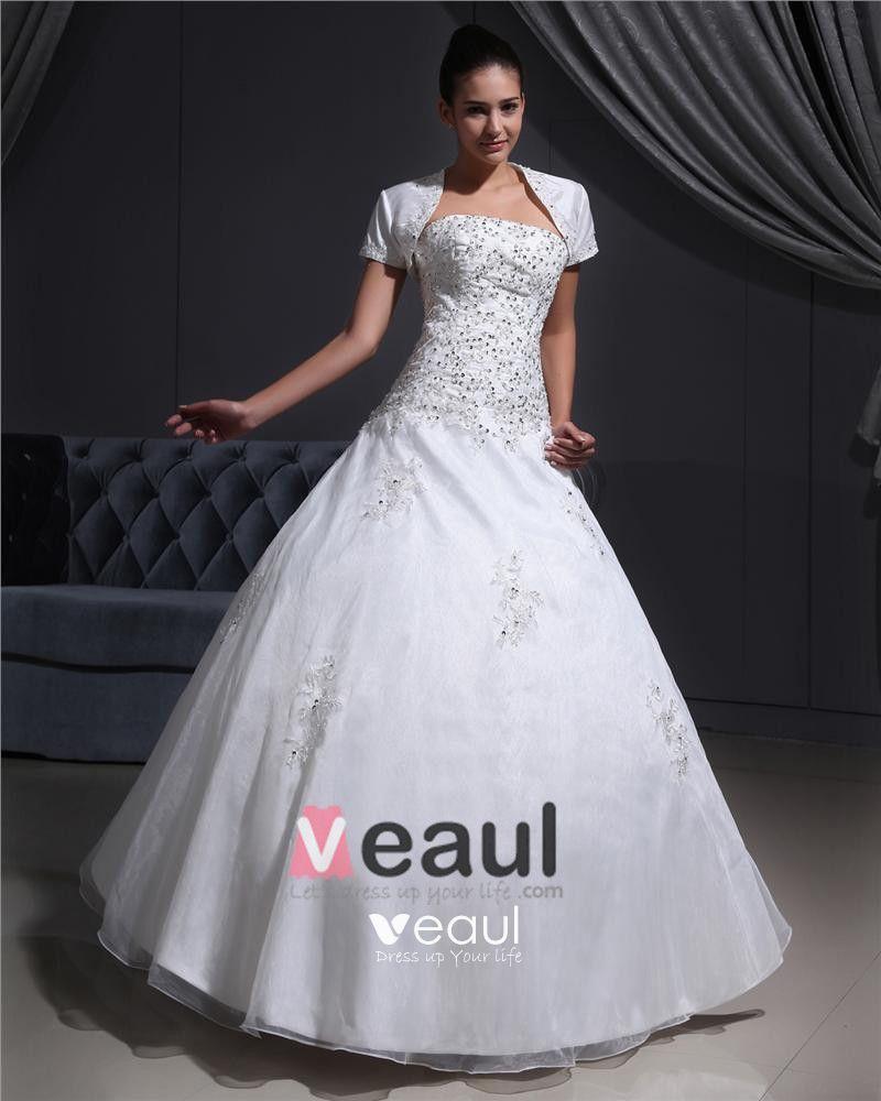 Satin Organza Applique Beads Strapless Floor Length Wedding Dresses