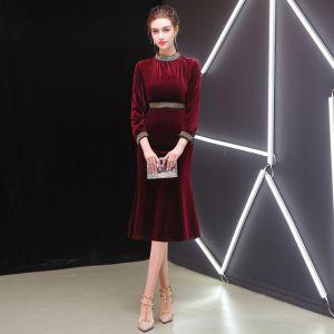 Elegant Burgundy Evening Dresses  2019 Scoop Neck Suede 3/4 Sleeve Tea-length Formal Dresses