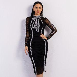 Mode Noire Dentelle Été Robes longues 2020 Col Haut Manches Longues Mi-Longues Vêtements Femme