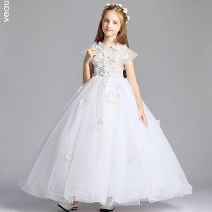 Elegante Blanco Vestidos para niñas 2019 A-Line / Princess V-Cuello Sin Mangas mariposa Apliques Con Encaje Perla Rebordear Largos Vestidos para bodas