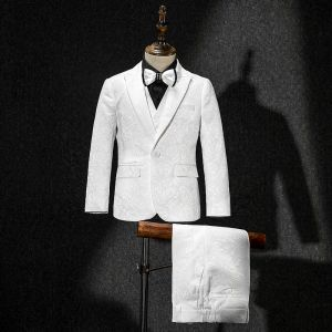 White Coat Vest Pants Tie Black Shirt Embroidered Boys Wedding Suits 2019