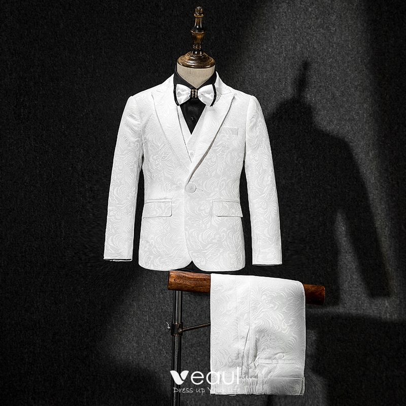 White Coat Vest Pants Tie Black Shirt Embroidered Boys Wedding Suits 2019