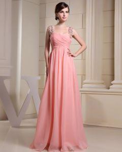 Mode Chiffon Charmeuse Seide Perlen Plissierte Riemen Bodenlangen Ärmellose Frauen Abendkleid