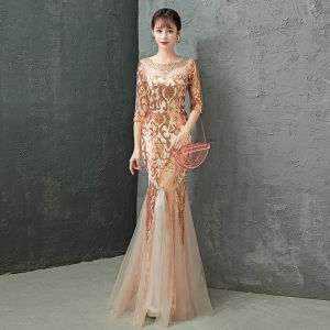 Charming Gold Evening Dresses  2019 Trumpet / Mermaid Scoop Neck Crystal Sequins 1/2 Sleeves Backless Floor-Length / Long Formal Dresses
