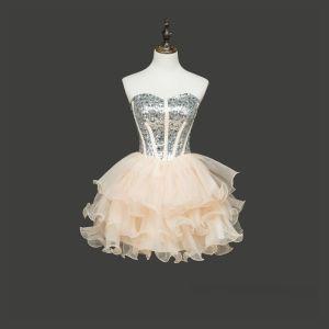 Piękne Szampan Sukienki Koktajlowe 2017 Princessa Tiulowe Bez Pleców Frezowanie Rhinestone Koktajlowe Sukienki Wizytowe