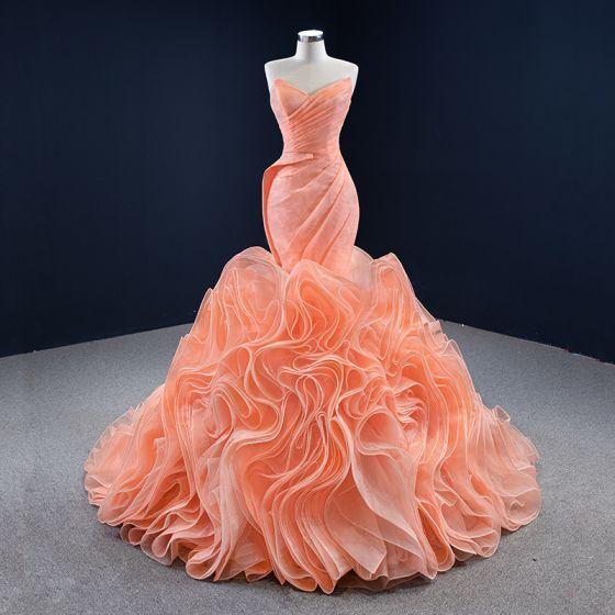 Luxus / Herrlich Orange Roter Teppich Abendkleider 2020 Meerjungfrau Herz-Ausschnitt Ärmellos Sweep / Pinsel Zug Rüschen Rückenfreies Festliche Kleider