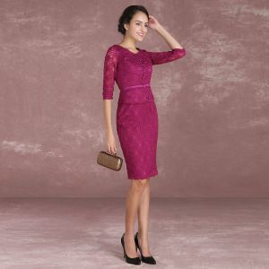 Chic / Beautiful Fuchsia Mother Of The Bride Dresses 2018 Lace Bow Scoop Neck 1/2 Sleeves Knee-Length Wedding Party Dresses