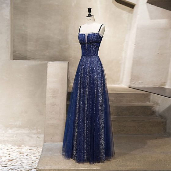 Starry Sky Royal Blue Evening Dresses  2019 A-Line / Princess Spaghetti Straps Sleeveless Glitter Sequins Floor-Length / Long Ruffle Backless Formal Dresses