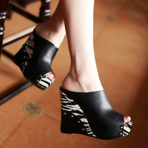 Fashion Womens Sandals Platform 4 Inch High Heeled Wedges Slipper Peep Toe