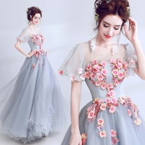 Elegant Grey See-through Prom Dresses 2018 Ball Gown Scoop Neck Puffy Short Sleeve Appliques Flower Sequins Floor-Length / Long Ruffle Formal Dresses