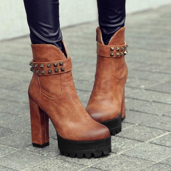 Beskeden Tan Streetwear Nitte Støvler Dame 2021 12 cm Tykke Hæle Vandtætte Runde Tå Støvler