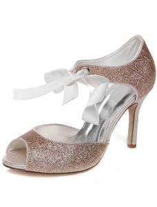 Sparkly Wedding Sandals With Ankle Strap 9 cm Stiletto Heels Bridal Shoes Peep Toe Glitter High Heel