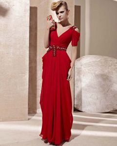 V Neck Off Shoulder Rhinestone Belt Short Sleeve Backless Floor Length Charmeuse Woman Evening Dress
