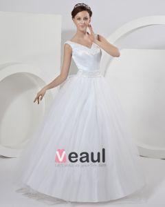 Satin-schleife Schärpe Abperlen Shoudler Watteau A Linie Brautkleider Hochzeitskleid