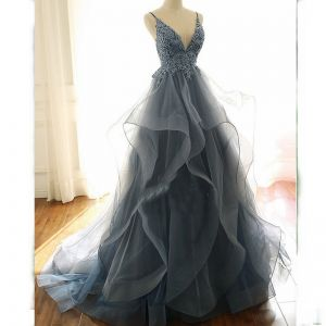 Charming Ocean Blue Prom Dresses 2020 A-Line / Princess Spaghetti Straps Beading Flower Lace Sleeveless Backless Cascading Ruffles Sweep Train Formal Dresses