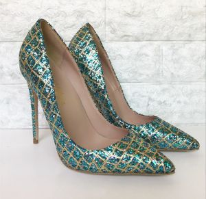 Sparkly Jade Green Evening Party Pumps 2019 Leather Sequins 12 cm Stiletto Heels Pointed Toe Pumps