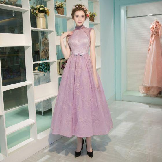 Moderne / Mode Lavande Robe De Graduation 2017 Princesse Col Haut Tulle Brodé Dos Nu Perlage de retour Robe De Ceremonie