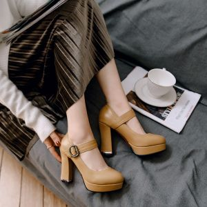 Vintage Tan Casual Womens Shoes 2018 Buckle 10 cm Thick Heels Platform Round Toe Pumps