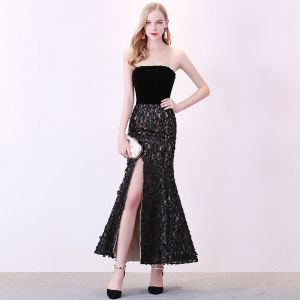 Sexy Black Evening Dresses  2018 Trumpet / Mermaid Suede Appliques Strapless Backless Sleeveless Ankle Length Formal Dresses
