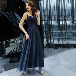 Chic / Beautiful Navy Blue Evening Dresses  2019 A-Line / Princess Spaghetti Straps Sleeveless Glitter Tulle Ankle Length Ruffle Backless Formal Dresses