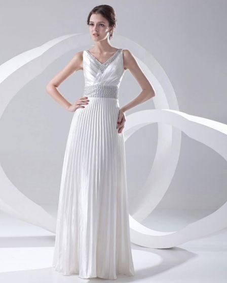 Fashion Satin Beaded Pleated V Neck Sleeveless Floor Length Prom Dress