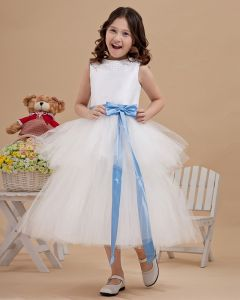 Lovely Yarn Satin Ankle-Length Beading Flower Girl Dresses