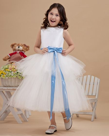 Lovely Yarn Satin Ankle-Length Beading Flower Girl Dresses