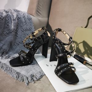 Vintage Negro Ropa de calle Remache Sandalias De Mujer 2020 X-Correa 10 cm Stilettos / Tacones De Aguja Peep Toe Sandalias