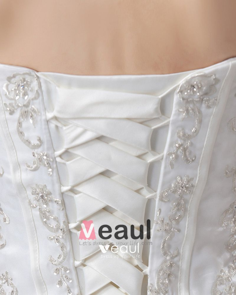 Lace Applique Sleeveless Satin Sweetheart Cathedral Train Ball Gown Wedding Dress