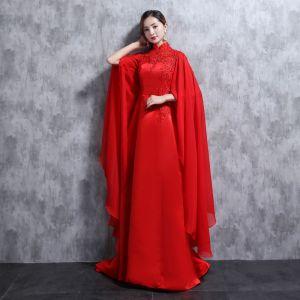 Style Chinois Rouge Robe De Soirée 2018 Col Haut Tulle Appliques Perlage Faux Diamant Paillettes Soirée Robe De Ceremonie