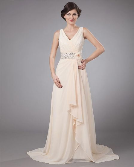 Flower Beading V Neck Floor Length Mothers of Bride Guests Dresses