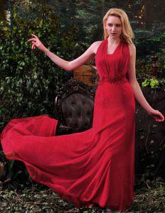 2015 Mode A-linie Halfter Perlen Spitze Roten Abendkleider