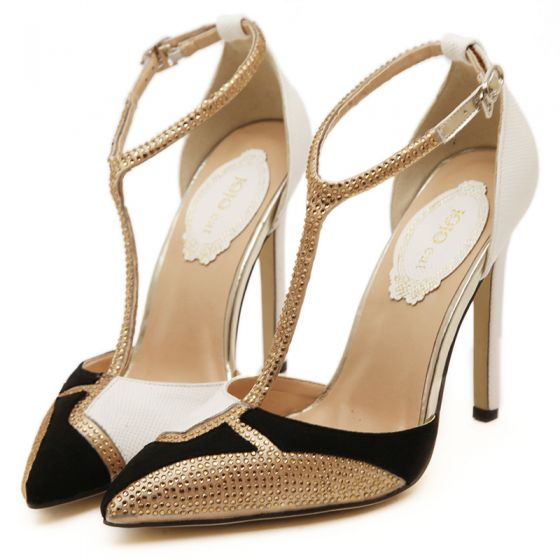 Charming White Evening Party Womens Shoes 2020 T-Strap Rhinestone 11 cm Stiletto Heels Pointed Toe High Heels