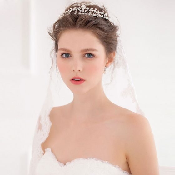 Håndlavede Diamant Perle Brude Krone Tiara Med Smykker