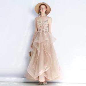 Piękne Khaki Sukienki Wieczorowe 2019 Princessa Spaghetti Pasy Z Koronki Kwiat Bez Rękawów Bez Pleców Kaskadowe Falbany Długie Sukienki Wizytowe