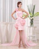 One Shoulder Flower Zipper Panel Floor Length Satin Chiffon Woman Prom Dress