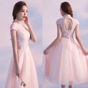 Chic / Beautiful Homecoming Graduation Dresses 2017 Blushing Pink A-Line / Princess Tea-length High Neck Short Sleeve Backless Lace Appliques Formal Dresses