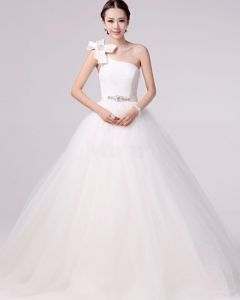 Fresh Applique Beading One Shoulder Satin A Line Wedding Dress