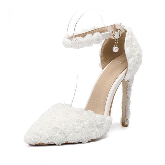 Eleganta Elfenben Appliqués Brudskor 2020 Ankelband 11 cm Stilettklackar Spetsiga Bröllop Klackskor