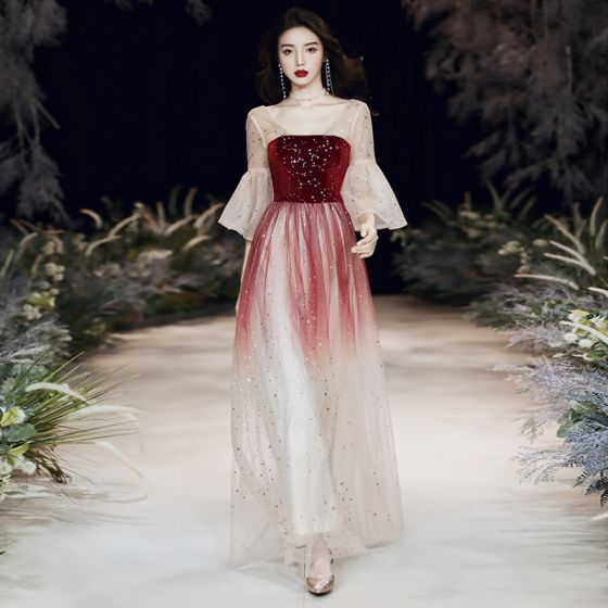 Chic / Beautiful Burgundy Gradient-Color Evening Dresses  2020 A-Line / Princess Square Neckline Bell sleeves Star Embroidered Sequins Floor-Length / Long Ruffle Backless Formal Dresses