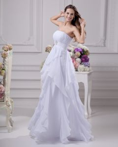 Floor Length Strapless Beading Pleated Chiffon Empire Wedding Dress