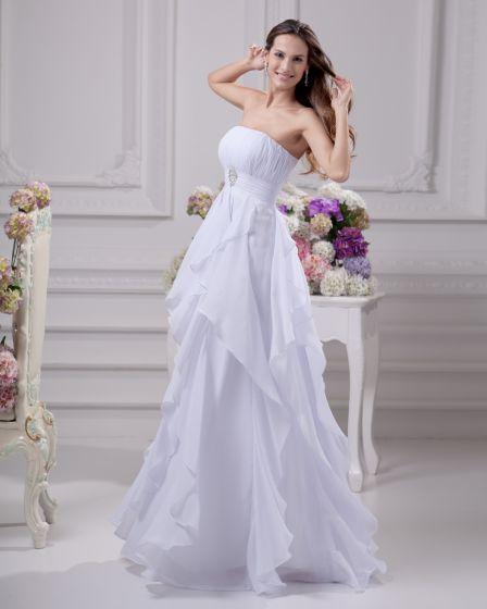 Floor Length Strapless Beading Pleated Chiffon Empire Wedding Dress
