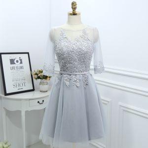 Modest / Simple Grey Bridesmaid Dresses 2017 A-Line / Princess Lace Flower Scoop Neck 3/4 Sleeve Short Wedding Party Dresses